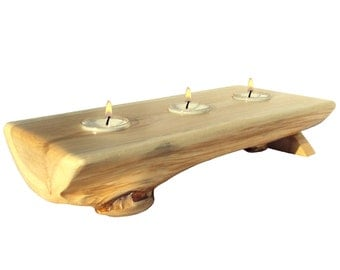 Cedar Log Candle, Rustc Candle Holder, Rustic Centerpieces, Rustic Candle