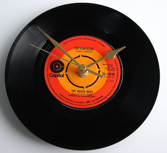 "The BEACH BOYS Vinyl Record Clock made from recycled 7"" single ""CottonFields"". For 60s beach bums everywhere"