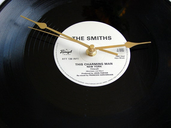 """The Smiths Record Clock. """"This Charming Man"""" New York. Made from original 12inch vinyl record. Large Clock. Boxed."""