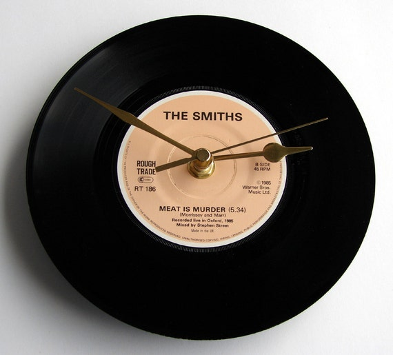 """The Smiths Record Clock. """"Meat is Murder"""" or """"That Joke Isn't Funny Anymore"""" from original 7"""" vinyl. Boxed. Gift for Vegetarians perhaps...."""