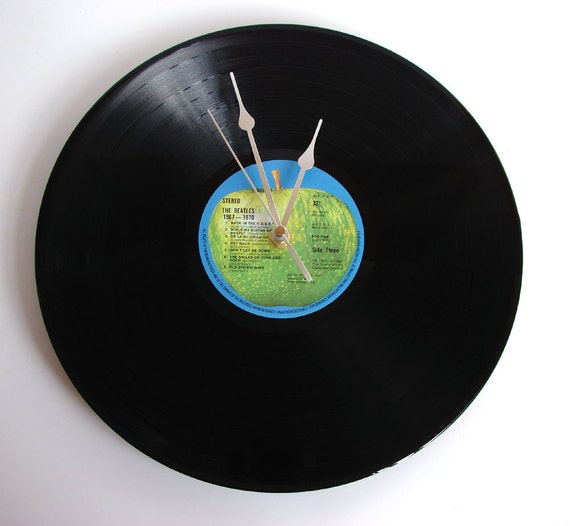 "The Beatles Vinyl Record CLOCK made from an Original recycled 12"" LP. Comes in a box. Made in the UK by Vinyl Time."