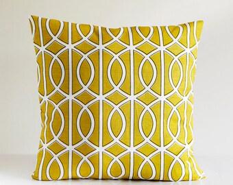 Designer Pillow Cover - yellow dwell cushion case - decorative covers - Dwellstudio citron - yellow home decor 0300