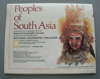 Vintage National Geographic Peoples Of South Asia Map 1984