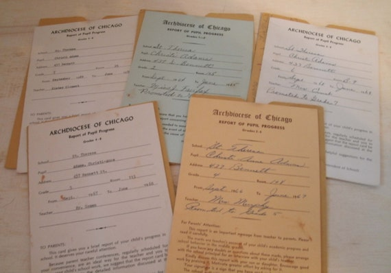 Vintage Report Cards, 1960s, 1970s, lot of 5, Archdiocese of Chicago
