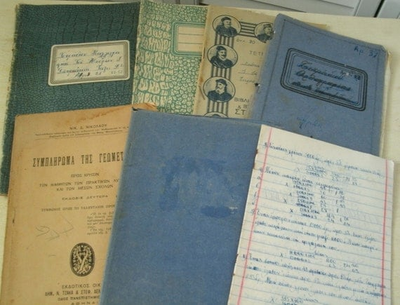vintage school books, greek composition books, school books 1950s, 1938, lot of 7