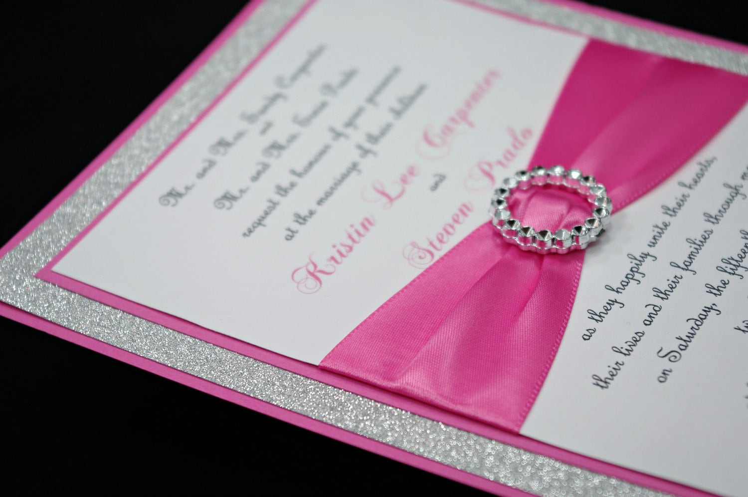 Custom Made Wedding Invitations: Pink Wedding Invitation Full Of Bling Sparkle And By