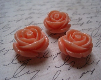 Flower Beads, 3 Chunky Necklace Beads, Peach Bubblegum Bead, Gumball Bead, 21mm x 13mm, 2mm Hole for Stringing