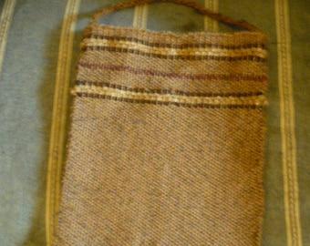 Handwoven tan small tote bag