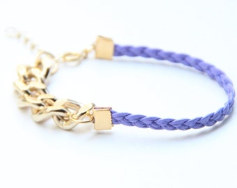 ON SALE: Arm Candy - Gold chunky chain with purple Leather braid Bracelet - 24k gold plated