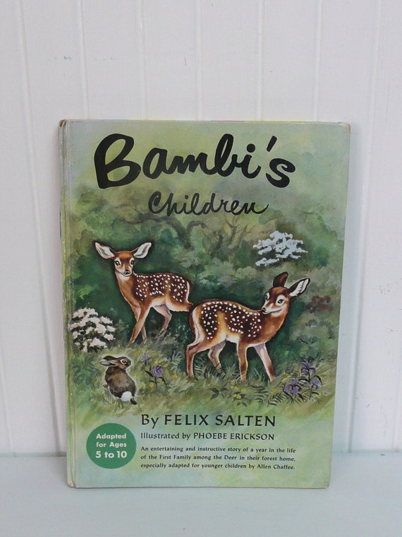 1950 Bambi's Children, Random House, Hardcover, Felix Salten, Antique Children's Book