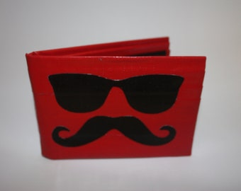 Red and Black Mustache With Shades Duct Tape Wallet