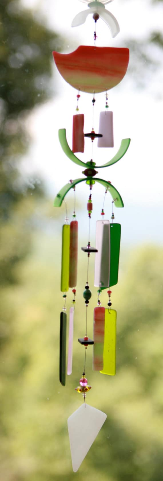 """JUICY WATERMELON,Recycled Beach Glass Wind Chime """"One of a Kind"""",Stained Glass, Sun Catcher, windchimes"""