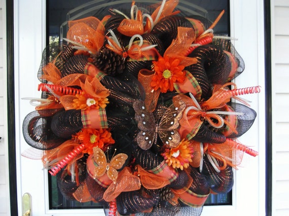 Thanksgiving fall Mesh Wreath