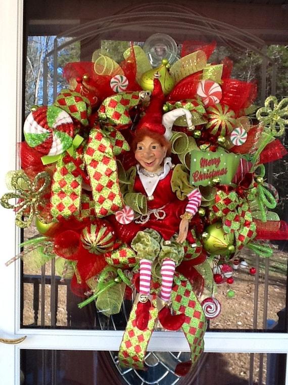 Deco Mesh Christmas Elf Wreath