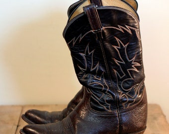 vintage tony lama brown leather cowboy boots mens size 9D