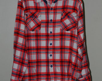 vintage mens shirt red and blue plaid montgomery wards size large
