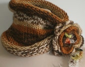BROWN  CREAM Scarf or Neckwarmer or Head Band. Knitting Scarf. Hand made. With flower. Usable everyday