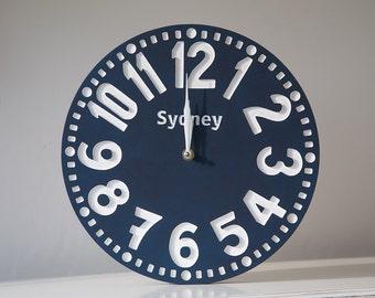 Vintage clock -Sydney- pseudo vintage birch clock hand painted  happy navy blue color