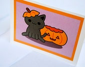 Black Cat and Jack-o'-Lantern Card, Pumpkin Halloween Greeting Card, Cute Fall Cards, Kawaii Kitty and Jackolantern Autumn Card