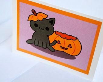 Black Cat and Jack-o'-Lantern Card, Pumpkin Halloween Greeting Card, Cute Fall Cards, Kawaii Kitty and Jackolantern Autumn Card