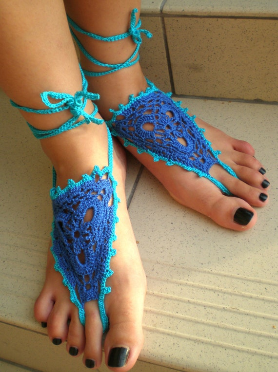 Barefoot sandals, Crochet, turquoise, Nude Summer Shoes, Beach Foot Jewelry, Hippie Sandals blue with turquoise trim.