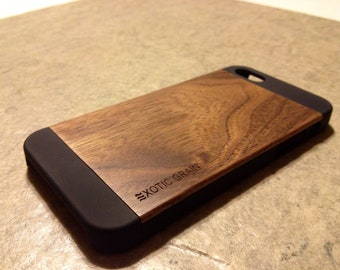 WOOD IPHONE 5 CASE , real wood rich polished exotic walnut  back ,sharp looking black edge