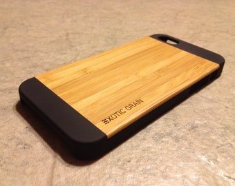 IPHONE 5/5s CASE , real wood rich polished EXOTIC bamboo  back ,sharp looking black edge