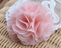 Chiffon Fabric Flowers Bridal Hair Flowers Baby Headware Flowers DIY Supplies Rose Blossoms Pink Corsag 2 pcs