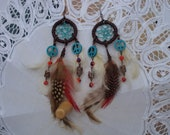 Aged Turquoise Peace Sign Dream Catcher Earrings