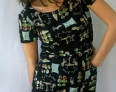 Black Cafe Theme Mini Dress Vintage Cute Old Fashioned Petite Short Sleeves French 1960's 1970's 1980's