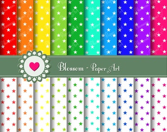 STARS Digital Paper Stars Digital Paper Pack, Scrapbooking Papers,  DIY Proyects - 20 Colours - 300dpi - 1353