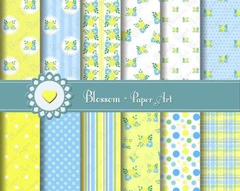 Baby Boy Digital Paper Flowers Digital Paper Pack, Yellow, Baby Floral Digital Scrapbooking Paper Pack - Yellow - Light Blue - 1487