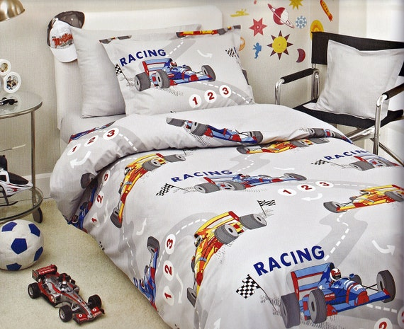 Race Car Twin Bed: Race Car Bedding Set In Twin Or Twin XL Grey Blue By