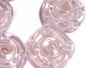 PINK Filigrina  RUFFLE Handmade Glass Lampwork BEADS Filigrina Pink Tiny Ruffled DIsc Wheels Set of 6