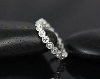Rosados Box Medium Bubbles 14kt White Gold Satin Finished Medium Round Bezel Diamond FULL Eternity Band