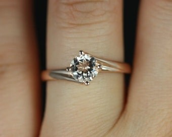 Rosados Box Souffle 6mm 14kt Rose Gold Round Morganite Single Twist Kite Solitaire Engagement Ring