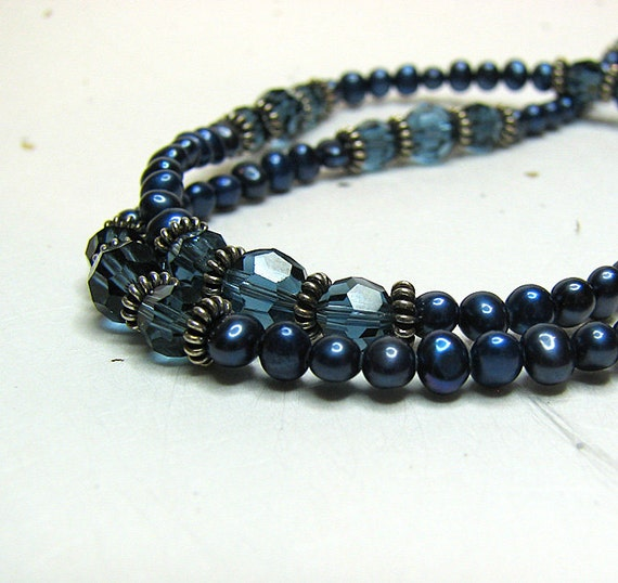 Black Friday Navy blue pearl necklace Swarovski crystal beaded necklace Antiqued silver Single strand pearl jewelry Delicate beaded jewelry