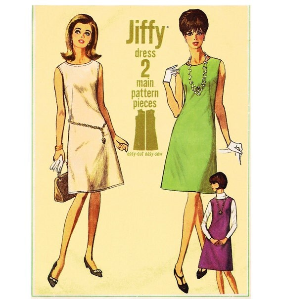 1966 Vintage A-line Jiffy Shift Dress or Jumper, Lowered Round Neckline, Top-stitching Option, Simplicity 6541, Size 16, Bust 36""