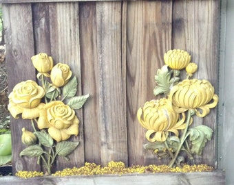 Vintage Pair of (2) Syroco Yellow Rose Wall Hanging mad men, ornate rose design