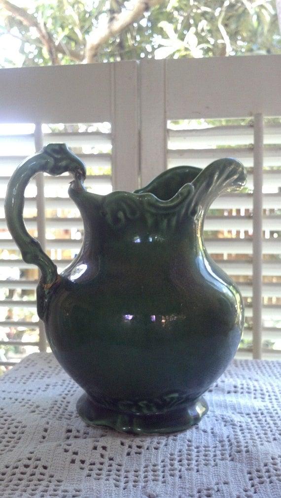 Vintage Forest Green Camark Pottery 209 Pitcher Vase Or