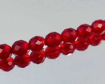 10mm Siam Ruby Red Czech Fire Polish Bead 25 Beads #222-4169