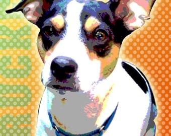 "Custom Pet Portrait  Pop Art Personalized - 11 x 14"""
