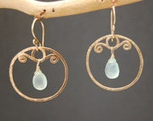 Hammered swirl hoop earrings choice of gemstone Nouveau 140