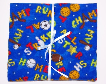 Extra Large Receiving/Swaddle Blanket - Blue Sports 42x42