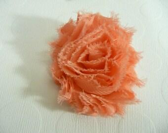 Shabby Chic Flower, Peach Hair Clip, Baby Bow, Baby Girl Headband, Newborn Headband.