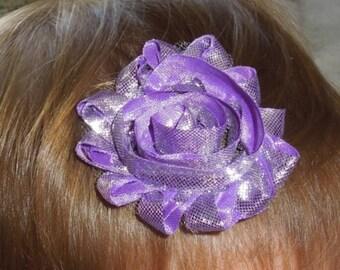 Shabby Chic Flower,  Shiny Purple Hair Clip, Baby Bow, Baby Girl Headband, Newborn Headband.