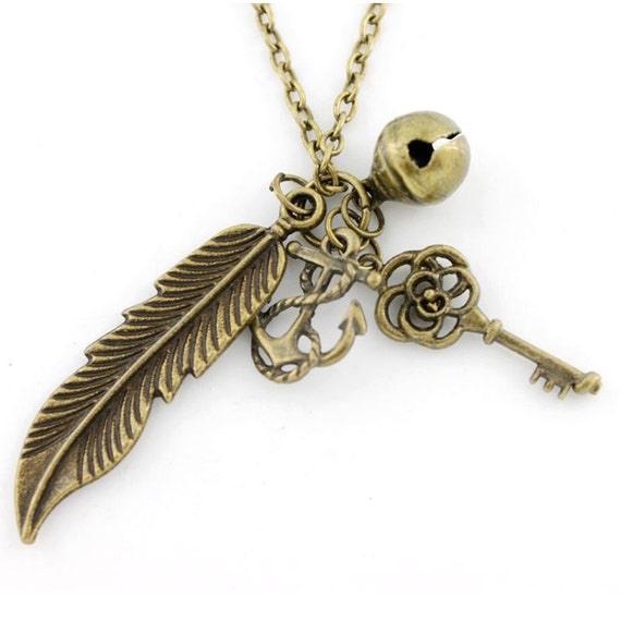 Simple Gold-tone Feather,Anchor,Key Pendant Necklace