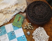 ANTIQUE TWIG Sewing BASKET Tatting Lace Buttons Thimble Scissors Sharpener Quilt Square Vintage Supplies