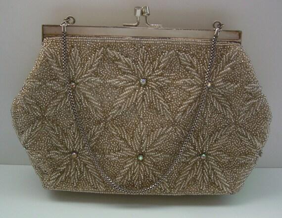 Hand beaded silver wedding purse, 1970s vintage Japanese,  evening handbag.