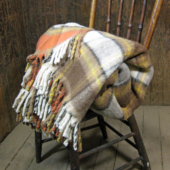 Vintage Plaid Wool Blanket in Fall Colors